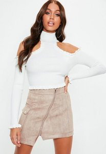 Read more about White high neck cold shoulder knitted crop top white