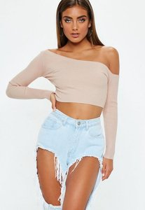 Read more about Nude ribbed cropped one shoulder knitted top beige