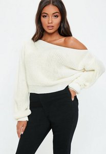 Read more about Cream off shoulder cropped knitted jumper cream