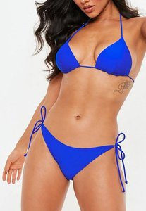 Read more about Cobalt blue tie side bikini bottoms - mix match blue