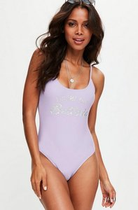 Read more about Mauve holographic print swimsuit purple