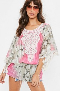 Read more about Pink snake embroidered satin kaftan dress pink