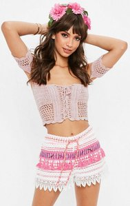 Read more about Pink sequin scallop lace edge shorts pink