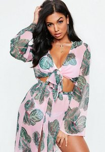 Read more about Pink leaf print tie front mesh crop top cover up pink