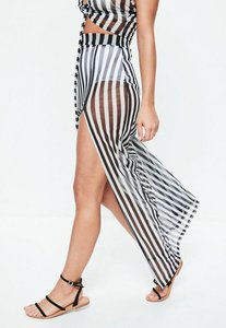 Read more about Black striped mesh side split maxi skirt black