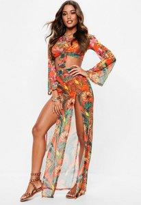 Read more about Orange mesh floral side split maxi skirt orange