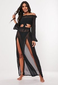 Read more about Black mesh side split maxi skirt black
