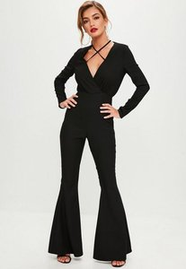Read more about Black tailored cross front jumpsuit black