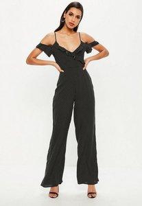 Read more about Black polka dot cold shoulder jumpsuit black