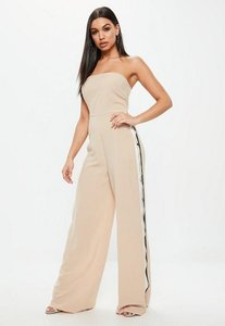 Read more about Nude bandeau popper side jumpsuit beige