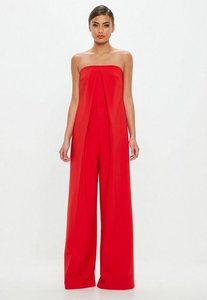 Read more about Red bandeau front pleat jumpsuit red