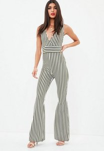 Read more about Khaki sleeveless stripe kick flare jumpsuit beige