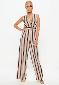 Read more about Cream stripe wrap front sleeveless jumpsuit cream