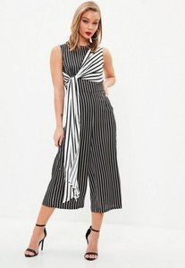 Read more about Black and white stripe culottes jumpsuit multi