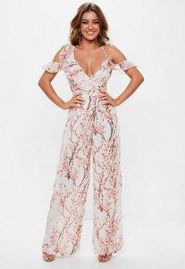 Read more about Pink floral cold shoulder jumpsuit multi
