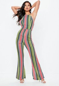 Read more about Green bright stripe 90s neck flared jumpsuit green
