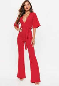 Read more about Red kimono sleeve plunge jumpsuit red