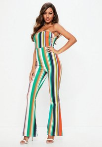Read more about White stripe bandeau flare leg jumpsuit multi