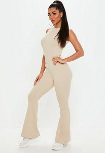 Read more about Cream ribbed flare leg sleeveless jumpsuit beige