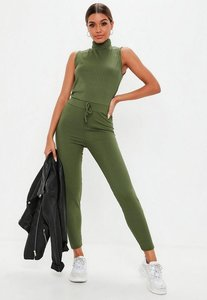 Read more about Green rib roll neck fitted jumpsuit beige