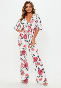 Read more about White floral plunge kimono jumpsuit white