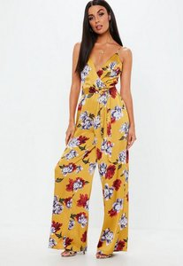 Read more about Mustard floral wide leg tie waist jumpsuit yellow