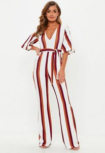 Read more about White stripe plunge kimono sleeve jumpsuit white
