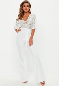 Read more about White lace plunge kimono sleeve jumpsuit white
