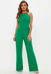 Read more about Green 90s neck wide leg jumpsuit green