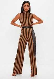 Read more about Brown stripe high neck belted sleeveless jumpsuit brown