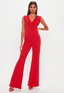 Read more about Red plunge wide leg jumpsuit red