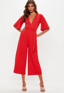 Read more about Red stripe plunge kimono culotte jumpsuit red