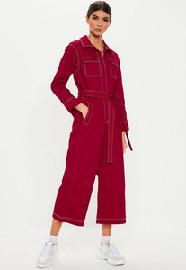 Read more about Red contrast stitch culotte jumpsuit red