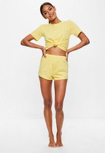 Read more about Yellow tie detail shorts pyjama set yellow