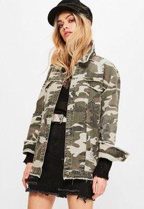 Read more about Khaki camouflage raw edge trucker jacket beige