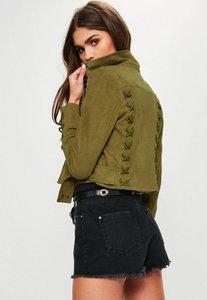 Read more about Khaki lace up detail biker jacket beige