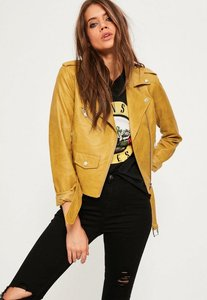 Read more about Mustard ultimate faux leather biker jacket yellow