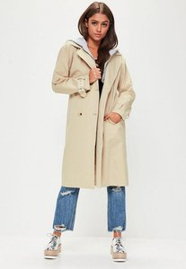 Read more about Beige hooded contrast trench coat grey