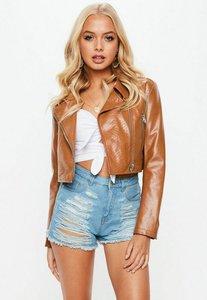 Read more about Tan cropped faux snake biker jacket brown