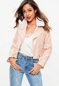 Read more about Pink faux fur trim vinyl biker jacket beige