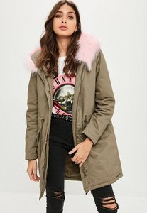 Read more about Khaki faux fur trim parka coat beige