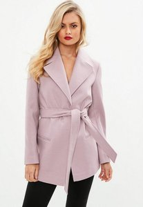 Read more about Pink short belted trench coat purple