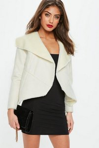 Read more about White faux shearling waterfall jacket white