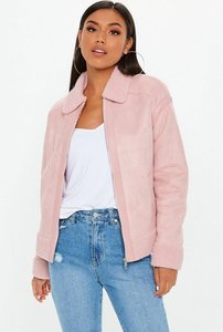 Read more about Pink faux fur trim aviator jacket pink