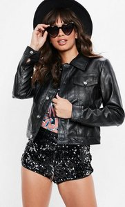 Read more about Black faux leather trucker jacket black