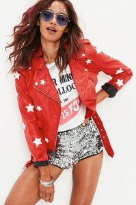 Read more about Red star applique faux leather biker jacket red