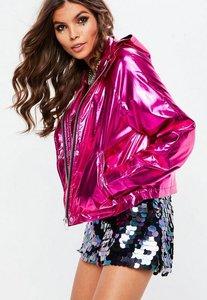 Read more about Pink cropped metallic rain mac jacket pink