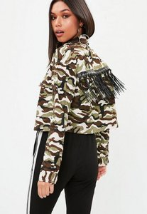 Read more about Green camo cropped fringe jacket green