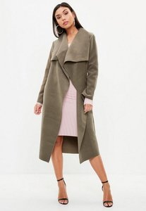 Read more about Khaki oversized waterfall duster coat green