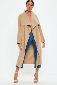Read more about Camel oversized waterfall duster coat beige